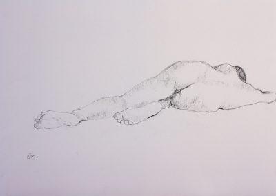Akt liegend, Kohle auf Papier, 42x59,4 cm