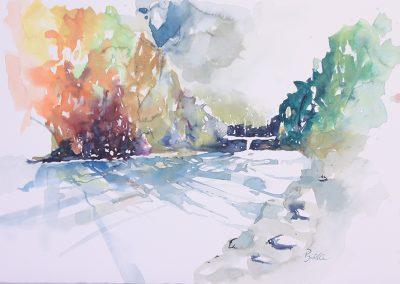 Am Fluss, Aquarell auf Papier, 51x35,5 cm