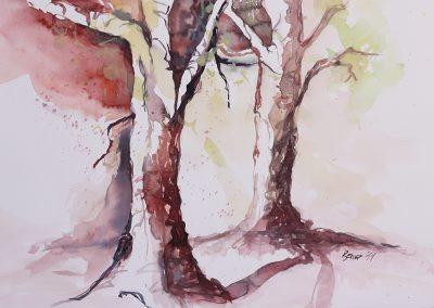 Herbst, Aquarell auf Karton, 51x35,5 cm