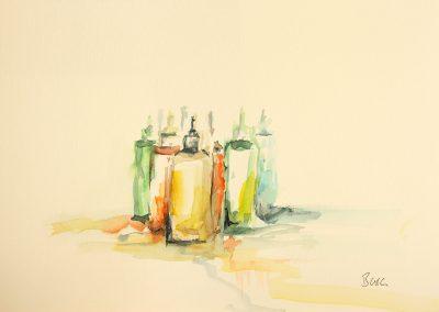 Im Atelier, Aquarell auf Papier, 21x14,8 cm