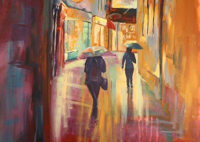 Im Regen, Acryl auf Leinwand, 100x80 cm