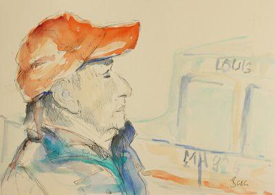 Marseille Fisherman, Mischtechnik auf Papier, 21x14,8 cm
