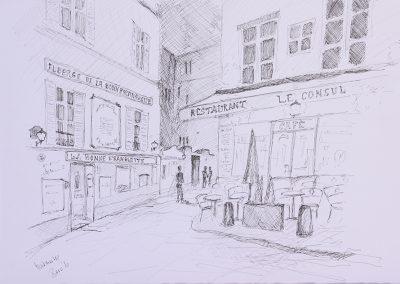 Montmartre, Tusche auf Papier, 42x30 cm