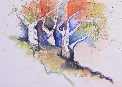 Olivenhain, Aquarell auf Papier, 51x35,5 cm