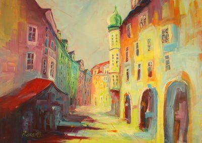 Prag Altstadtring, Acryl auf Leinwand, 110x90 cm