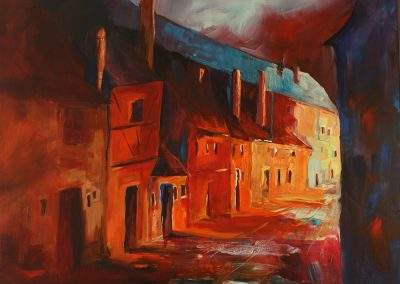 Prag Golden Lane@Night, Acryl auf Leinwand, 70x90cm