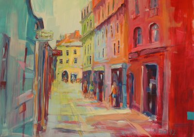 Prag Shoppingstreet, Acryl auf Leinwand, 100x80 cm