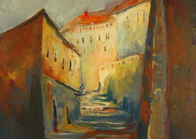 Prag Stufen zum Hradschin, Acryl auf Leinwand, 70x90 cm cm