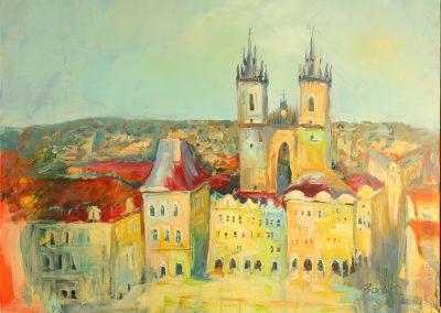Prag Altstadtring, Acryl auf Leinwand, 100x80 cm