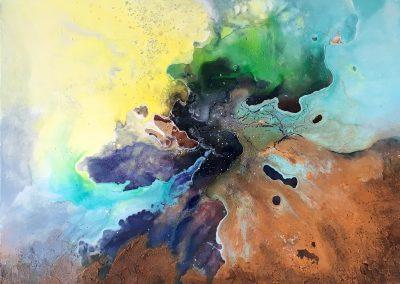 Fenster ins Universum, Acryl Mischtechnik auf Leinwand, 60x60 cm